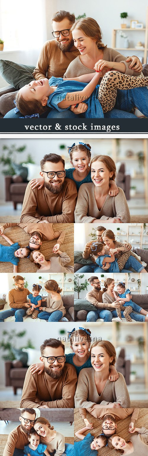 Happy family amusing rest of house during week-end