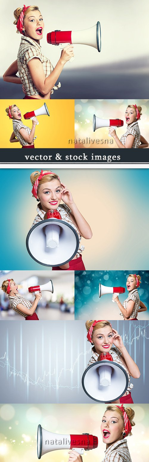 Girl with loudspeaker will rub pop art in retro style