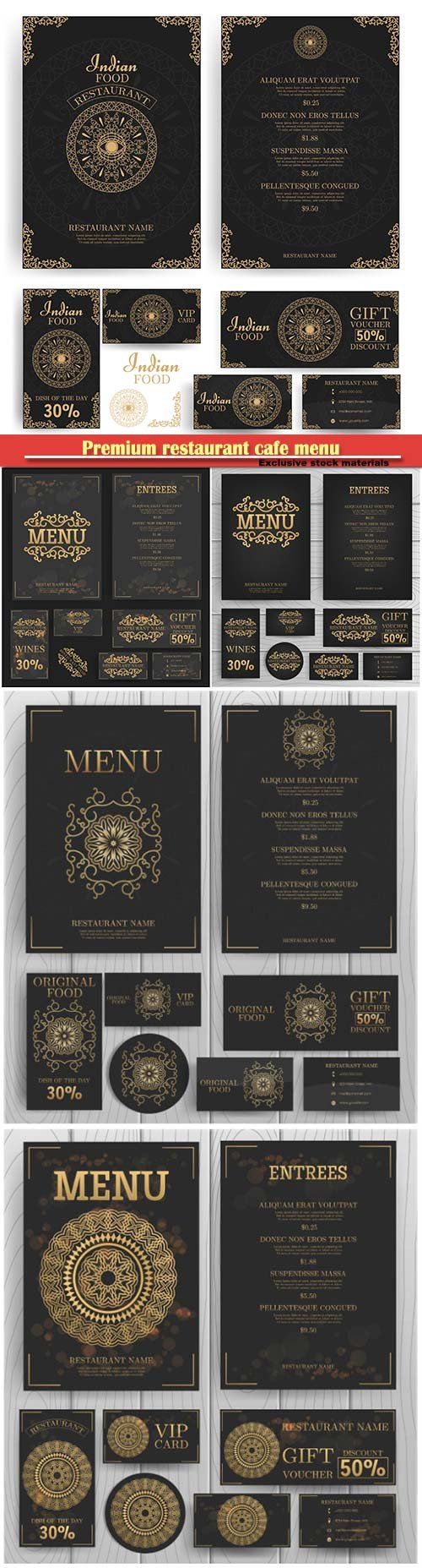 Premium restaurant cafe menu, template vector design