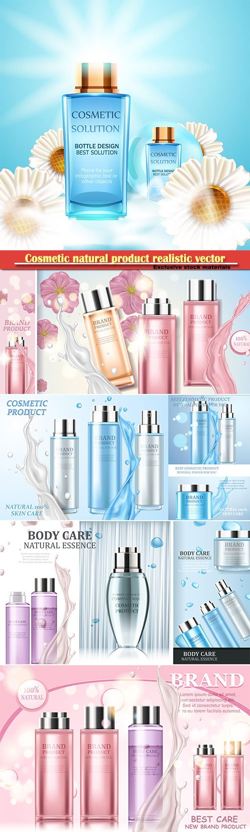 Cosmetic natural product realistic vector illustration