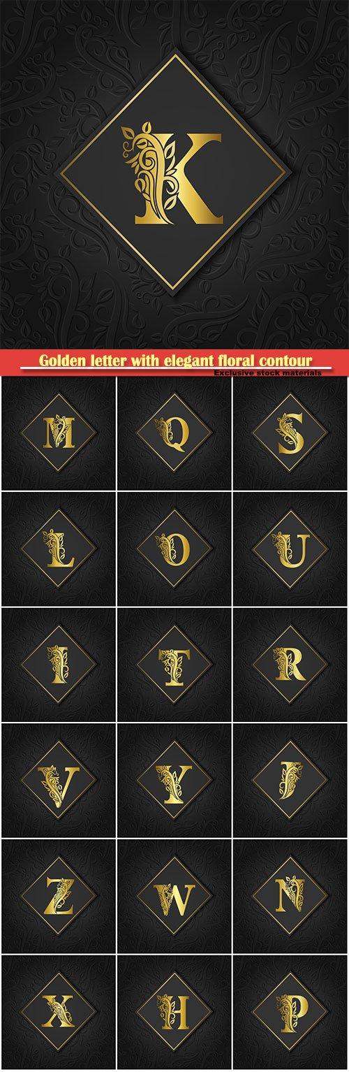 Golden letter with elegant floral contour for logo, monogram, invitation, flyer, menu