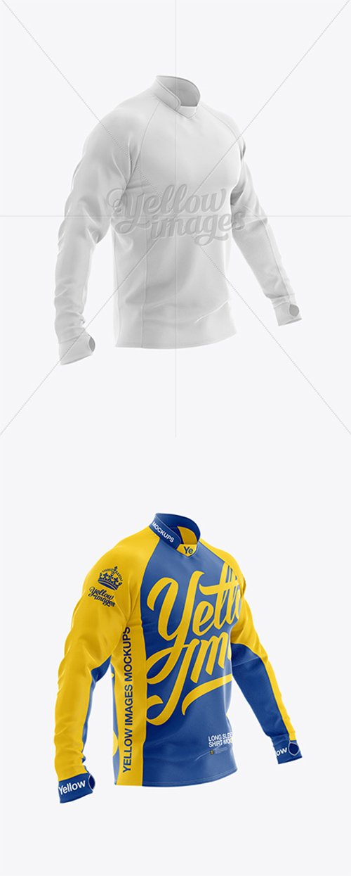 Long Sleeve Jersey Mockup - Half Side View 16682 TIF