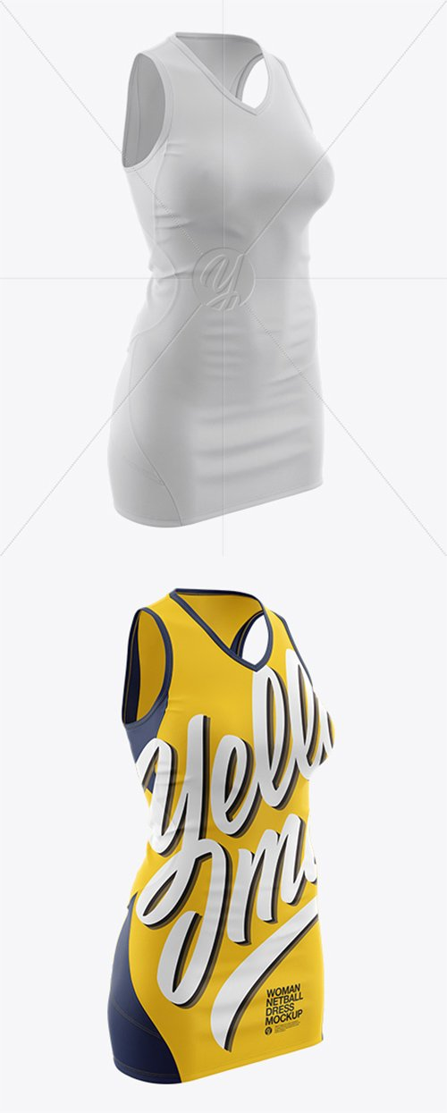 Netball Dress With V-Neck HQ Mockup - Half Side View 22045 TIF