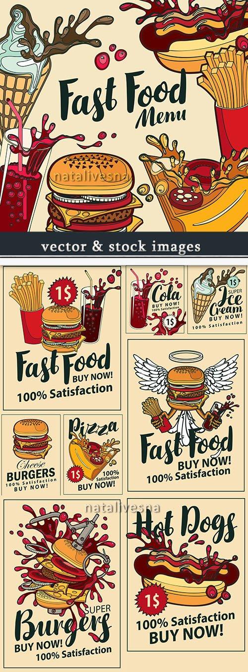 Menu fast food drinks and snack vector illustration