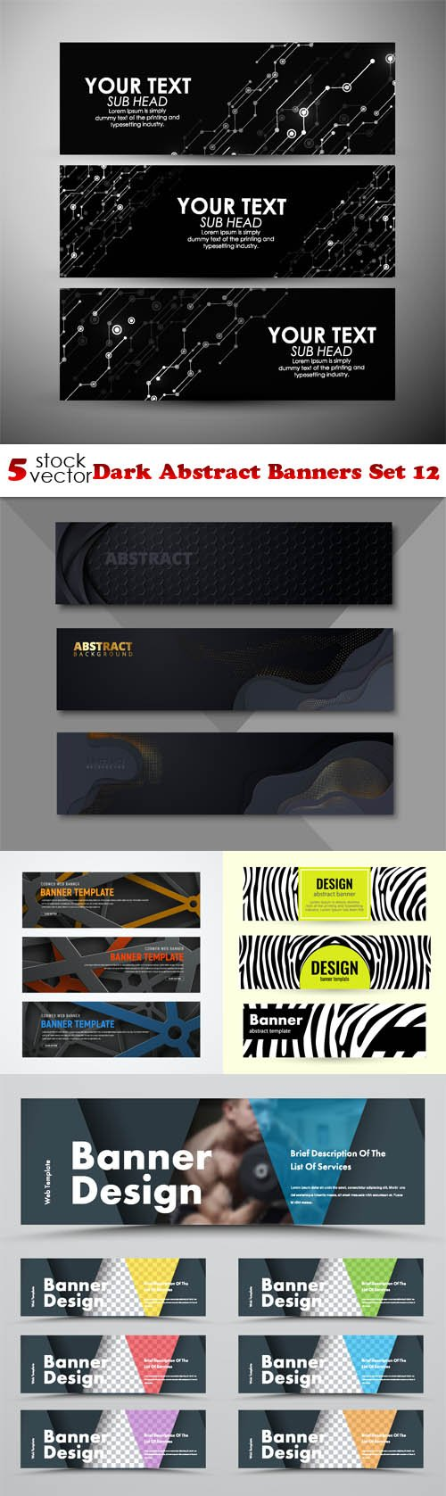 Vectors - Dark Abstract Banners Set 12