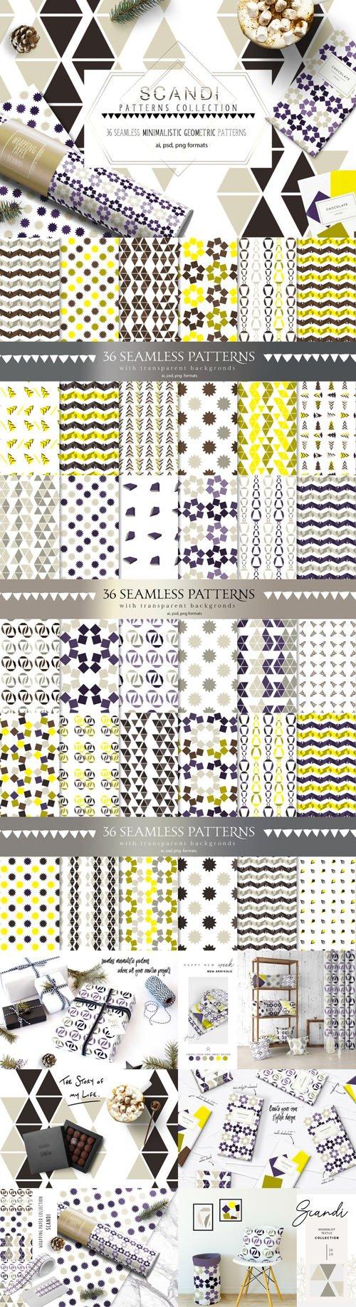 36 SCANDI Seamles Minimalistic Geometric Pattern Collection