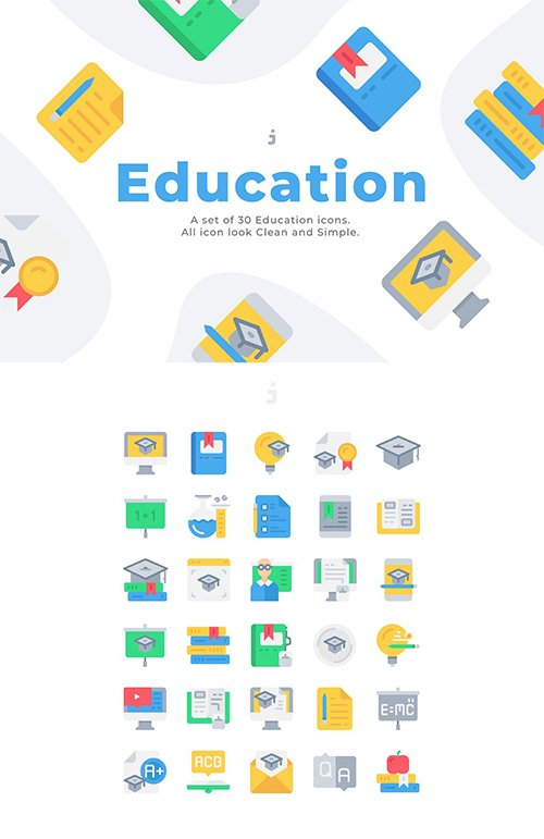 30 Education and Learning Icons - Flat
