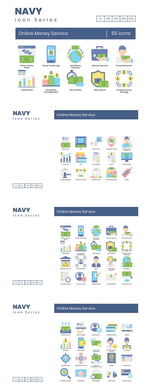 55 Online Money Service Icons | Navy Series