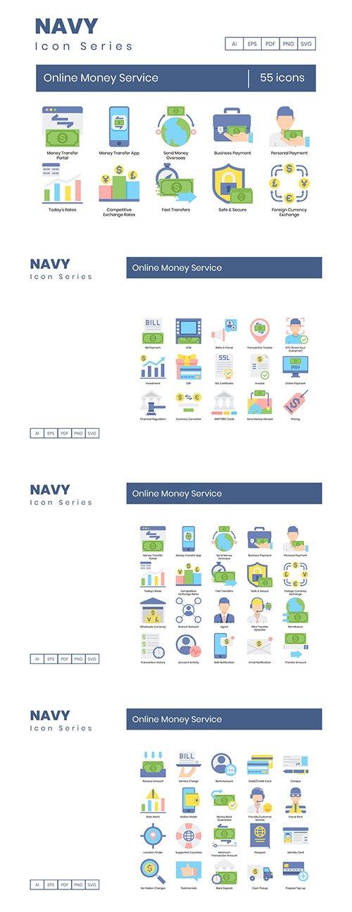 55 Online Money Service Icons | Navy Series