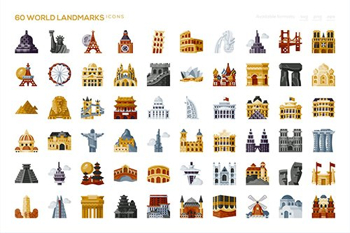 60 World Landmarks Icons