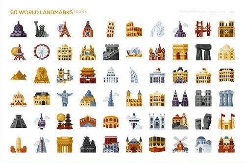 60 World Landmarks Icons