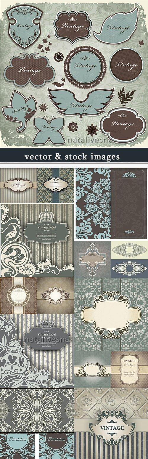 Decorative vintage invitation and ornamental elements