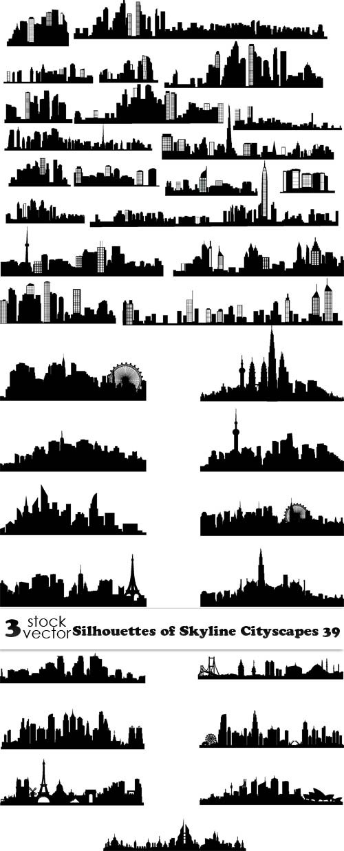 Vectors - Silhouettes of Skyline Cityscapes 39