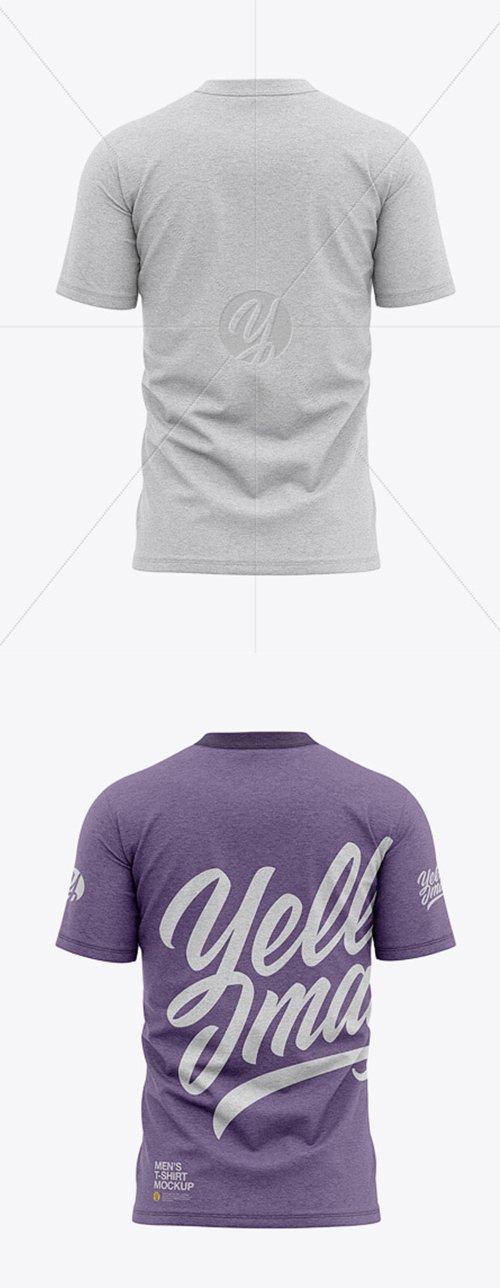 MenMen's Heather Tight Round Collar T-Shirt - Back View 39236 TIF
