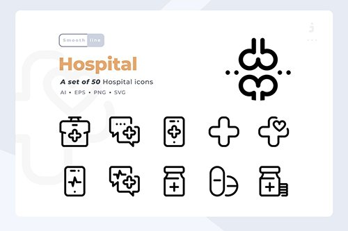Smoothline - 50 Hospital icon set