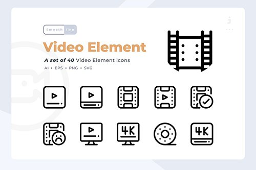 Smoothline - 40 Video Element icon set