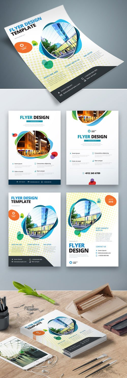 Four Flyer Layouts with Layered Abstract Spots and a Halftone Effect
