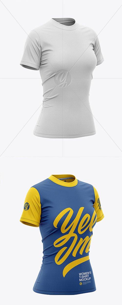 Women's Tight Round Collar T-Shirt Mockup 40685 TIF
