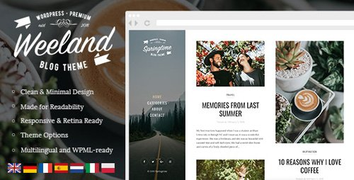 ThemeForest - Weeland v1.3 - Masonry Lifestyle WordPress Blog Theme - 21614603