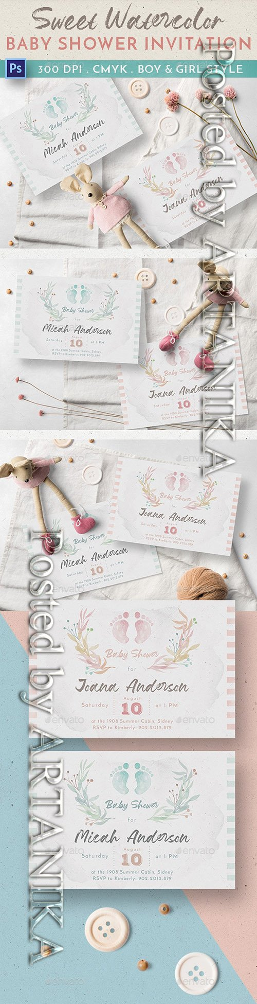 Sweet Watercolor Baby Shower Invitation 23545208