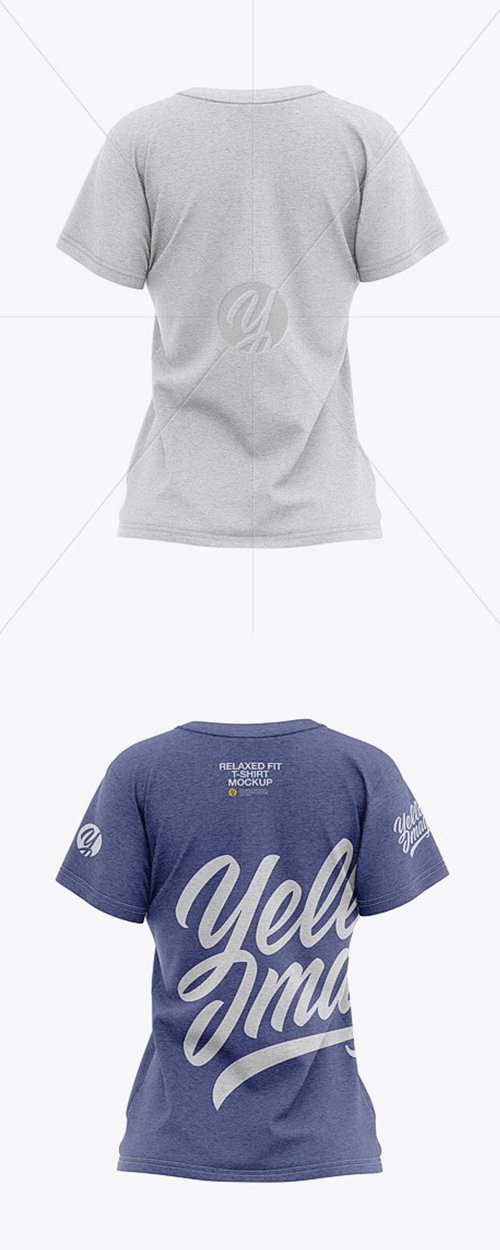Womens Heather Relaxed Fit T-shirt Mockup - Back View 36644 TIF