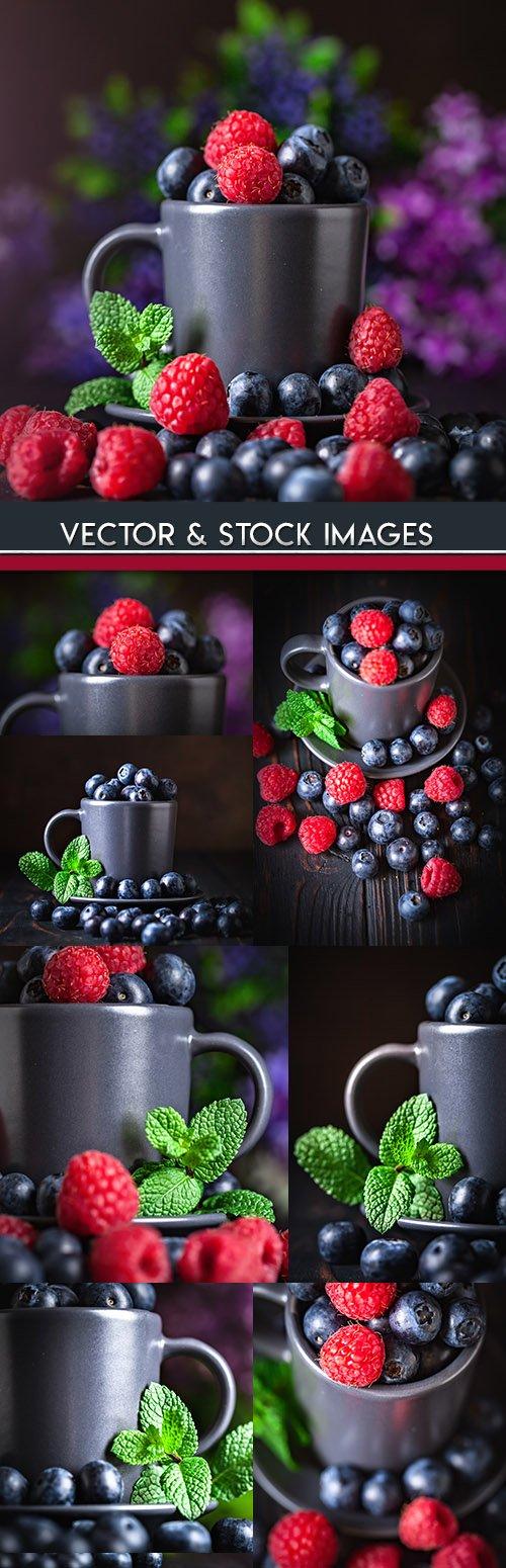Raspberry and bilberry ripe summer berries tasty dessert