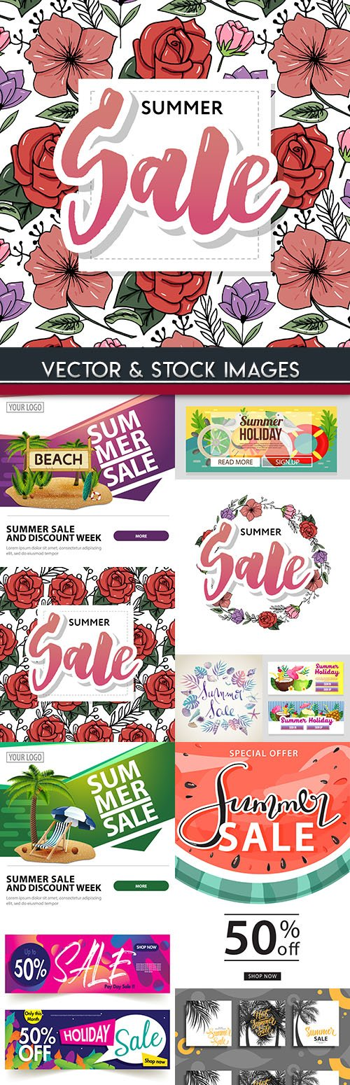 Summer sales special and discount holiday illustrations 7