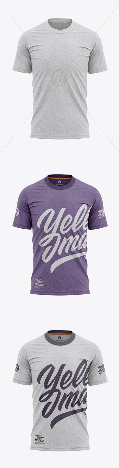 Mens Heather Tight Round Collar T-Shirt - Front View 39217 TIF