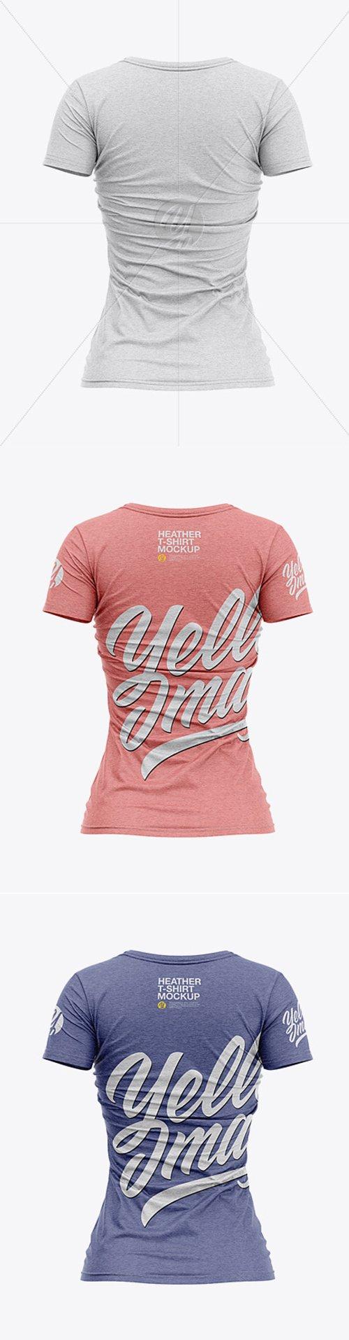 Womens Heather Slim-Fit V-Neck T-Shirt Mockup - Back View 32127 TIF
