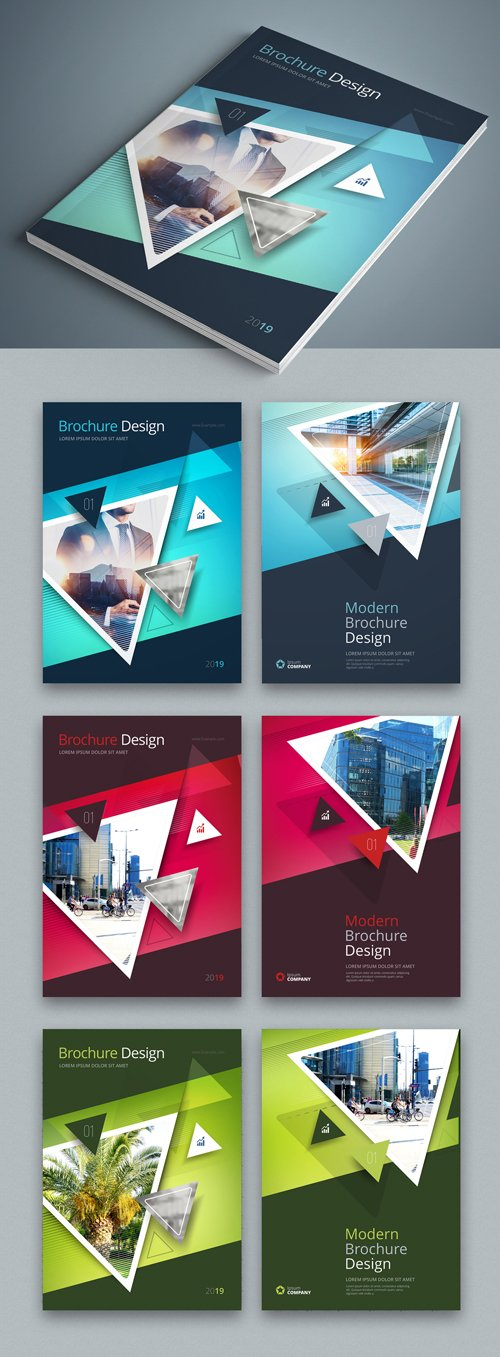 Teal Business Report Cover Layouts with Triangles 246236838