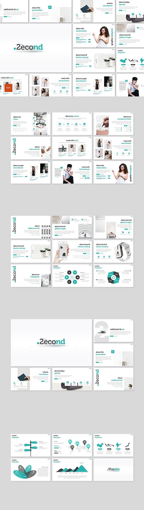 Second - Powerpoint, Keynote and Google Slides Template