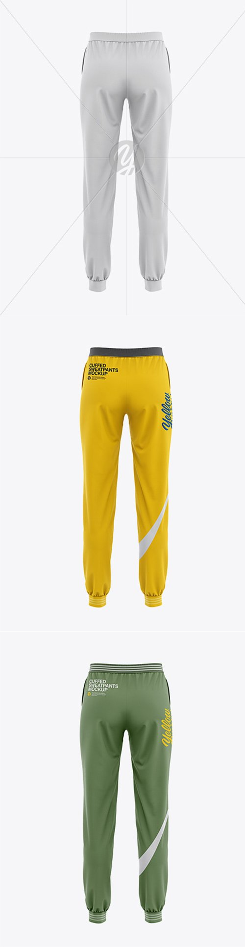 Womens Cuffed Sweatpants Mockup - Back View 34993 TIF