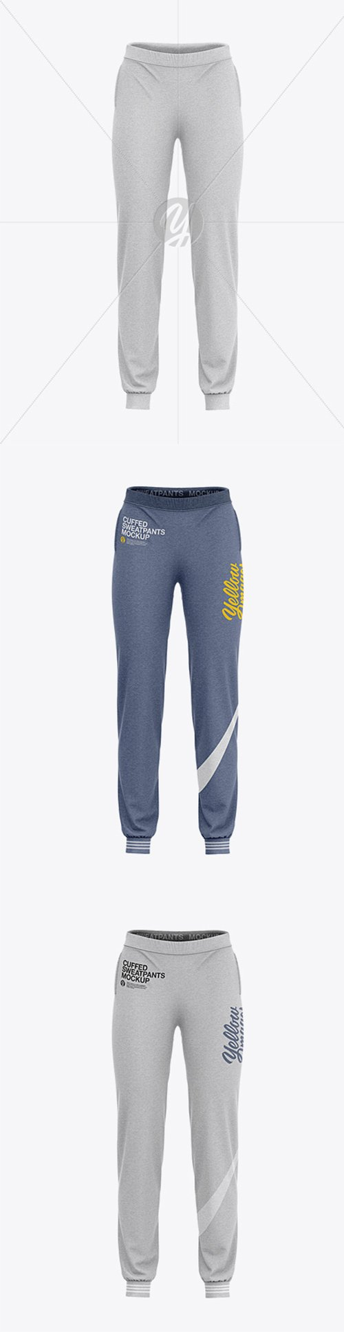 Womens Heather Cuffed Joggers - Front View 35533 TIF