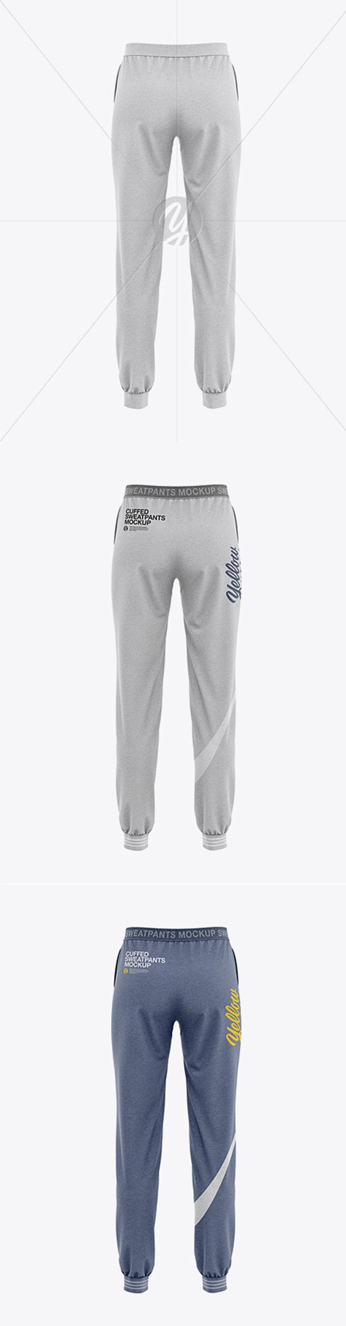 Womens Heather Cuffed Joggers - Back View 35544 TIF