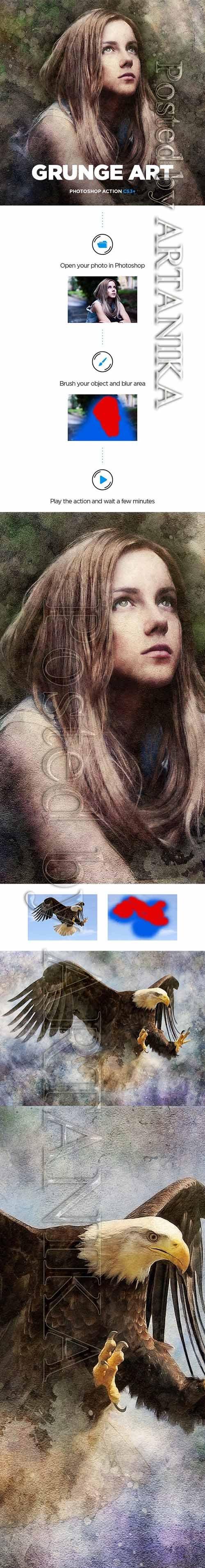 Grunge Art CS3+ Photoshop Action 19529824