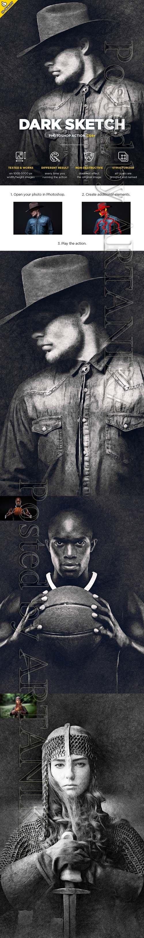 Dark Sketch CS4+ Photoshop Action 21587324