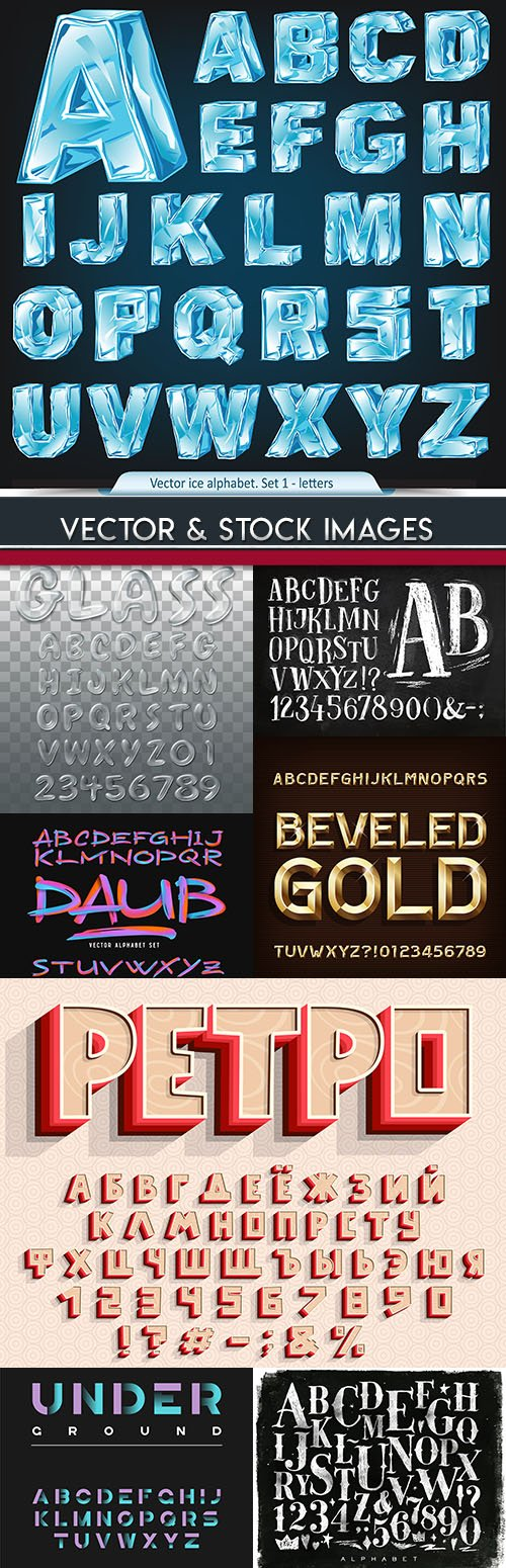 Font alphabet typography design decoration collection 2