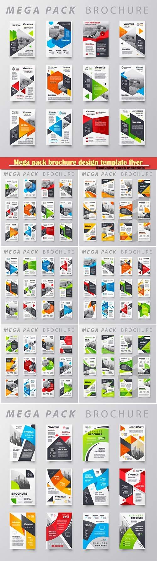 Mega pack brochure design template flyer vector set