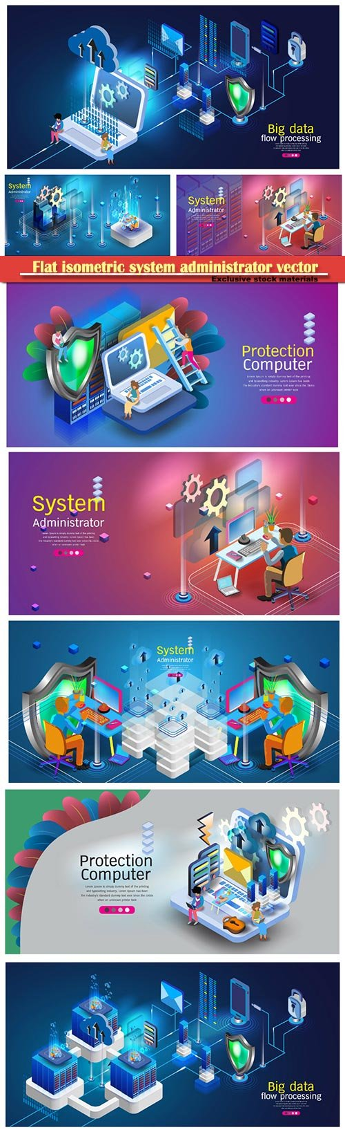 Flat isometric system administrator vector illustration