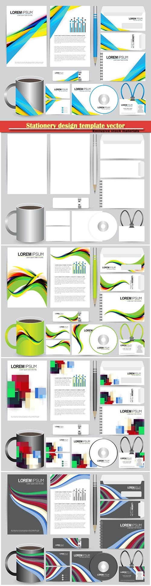 Stationery design template vector illustration