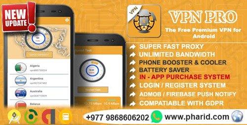 CodeCanyon - VPN Pro 2019 v1.5 - Android Free Pro VPN | In-App Purchase, Admin Panel, Login/Register, Admob, Firebase - 23185110