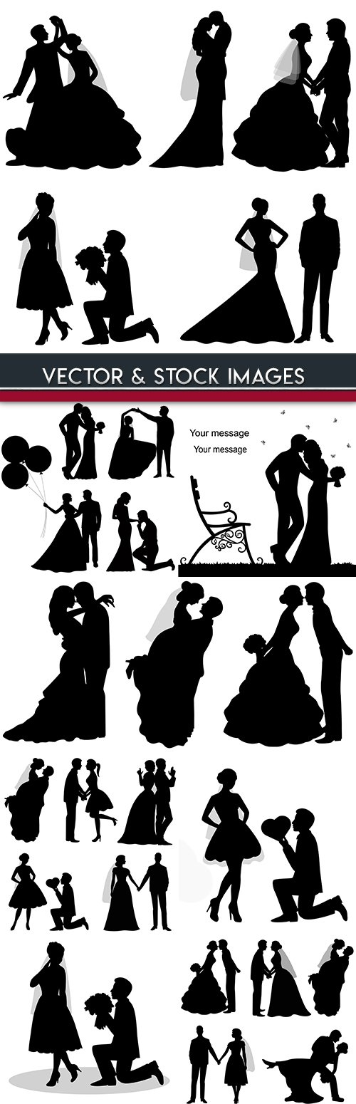 Groom and bride wedding ceremony romantic silhouettes