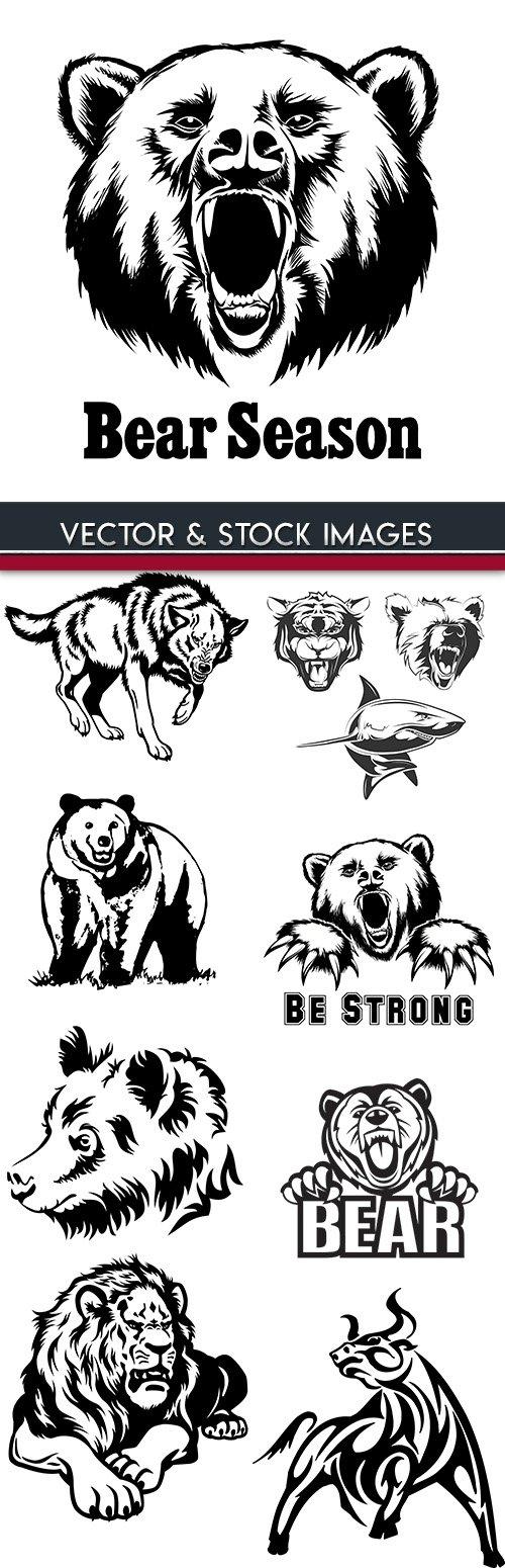 Bear and predatory animals emblem silhouette design