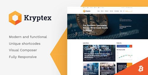 ThemeForest - Kryptex v1.2.4 - Cryptocurrency & Mining WordPress Theme - 20981569