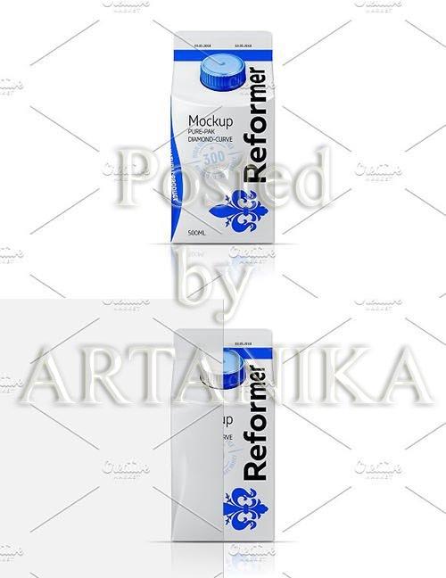 500ML Milk Mockup DIAMOND CURVE