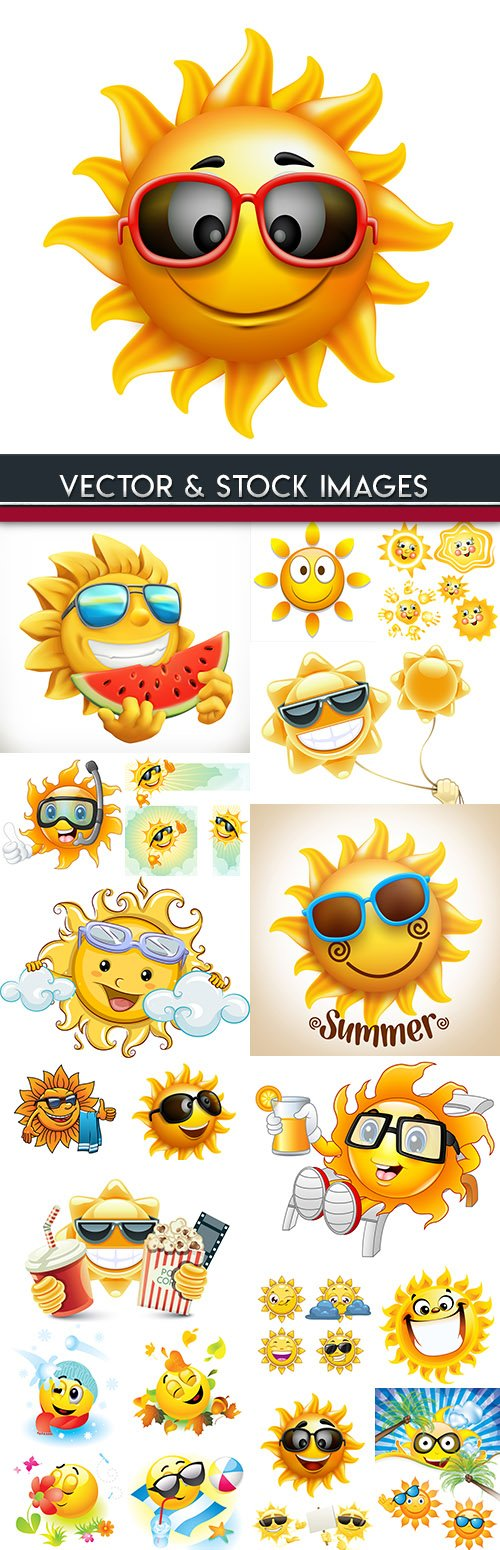 Summer sun cartoon bright and cheerful collection illustrations