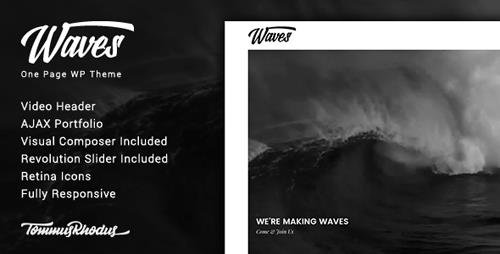 ThemeForest - Waves v1.0.3 - Fullscreen Video One-Page WordPress Theme - 20288474
