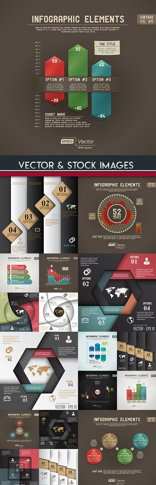 Business infographics options elements collection 66