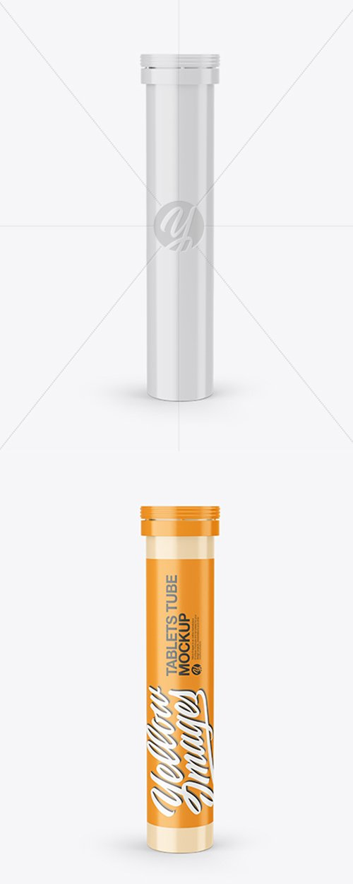 Glossy Plastic Tube With Tablets Mockup 43121 TIF