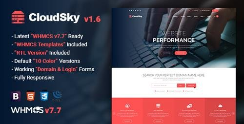 ThemeForest - CloudSky v1.6 - Multipurpose Domain, Hosting and WHMCS Template - 20729612